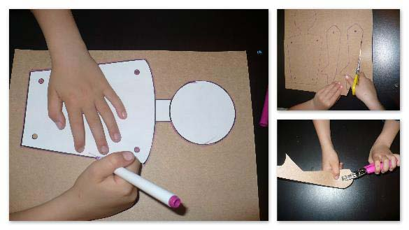 Transferring paper template to card stock for a person shaped character