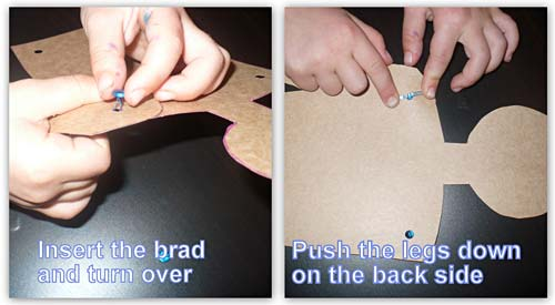 Connecting the paper doll arms to the core using brads.
