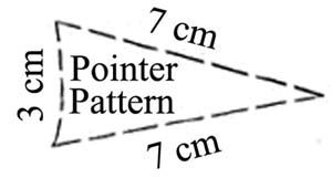 A pointer template showing the dimensions required for the pointer.