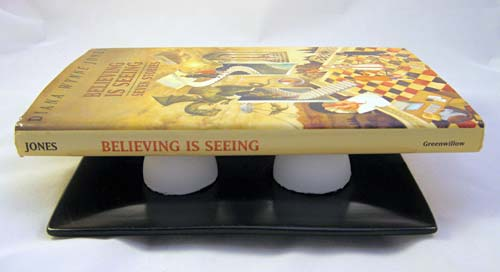 Testing the strength of eggshells spaced equally apart on a dinner plate by balancing a book on top of them.