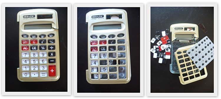 Examples of damaged calculators