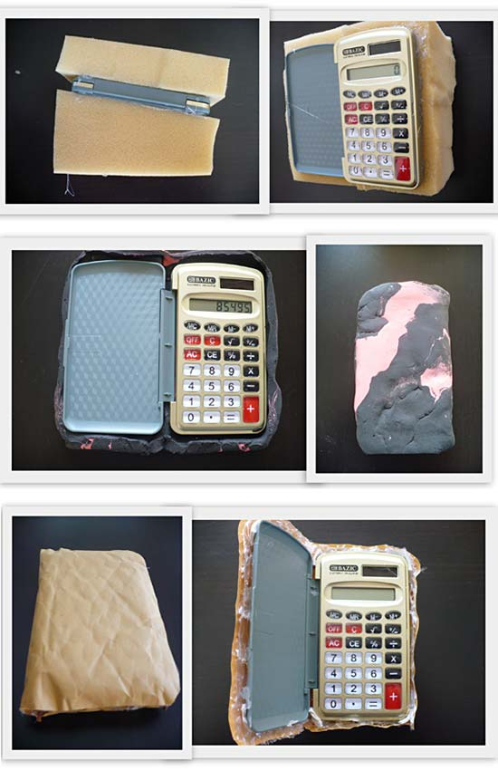 Collage of three first iteration altered calculators