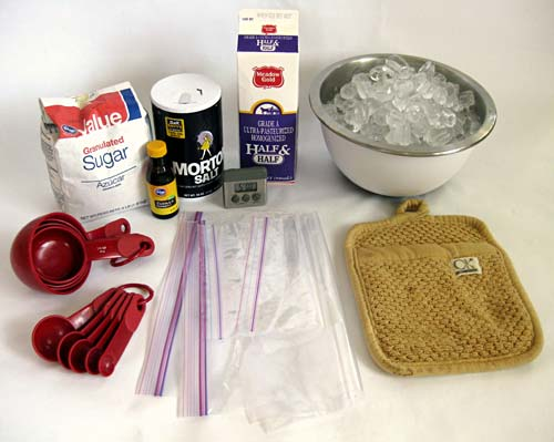 Materials for making ice cream in a bag.