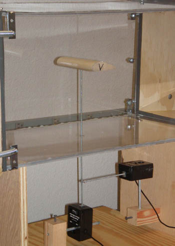 Two perpendicular force sensors attach to a metal rod that is inserted into a Plexiglas box
