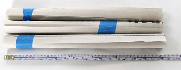 Newspaper tubes cut to eighteen centimeters in length