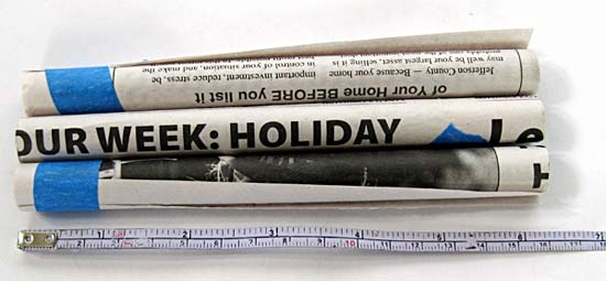Newspaper tubes cut to sixteen centimeters in length
