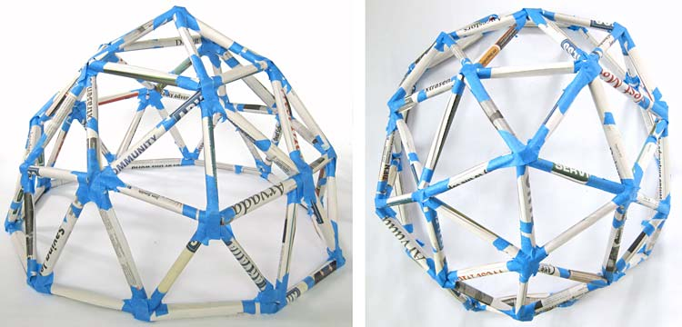 Five newspaper tubes connect at the top of a geodesic dome