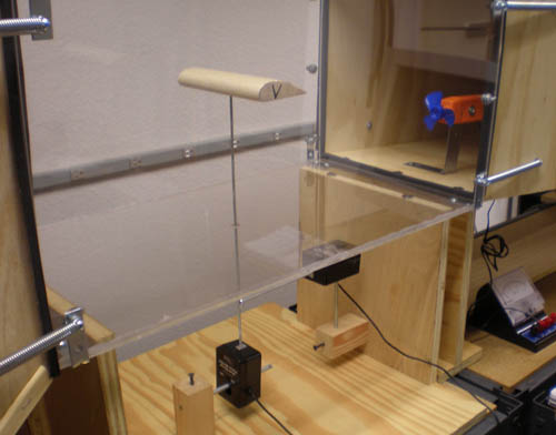 Two force sensors and a wind sensor are visible within a homemade wind tunnel