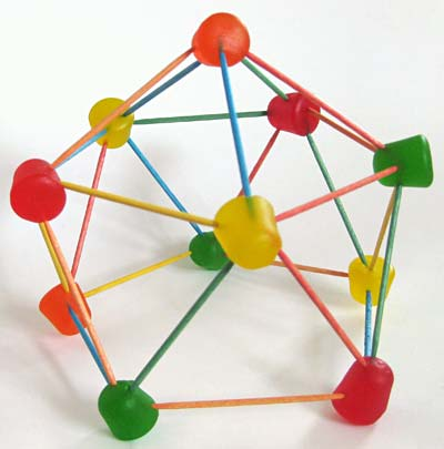 Completed geodesic dome built using gumdrops and toothpicks for a science activity.