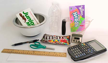 Materials needed to do the candy flow rate science activity.