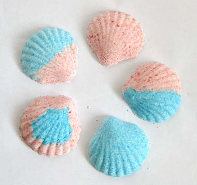 Picture of homemade sea-shell shaped bath bombs.