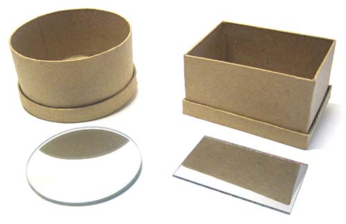 A circular and rectangular paper mache boxes and mirrors for making infinity mirrors.