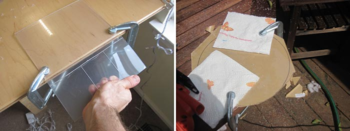 Plexiglass is cut by scoring and snapping the glass or a jigsaw is used to cut plexiglass into non-linear shapes