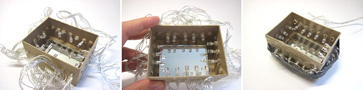 Photographs showing how to insert LEDs through the sides of a cardboard box to make an infinity mirror.