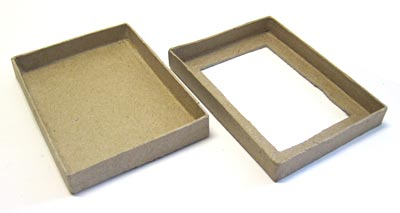 A rectangular hole is cut in the lid of box