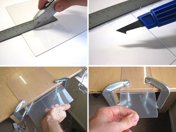 scoring plexiglass with utility knife
