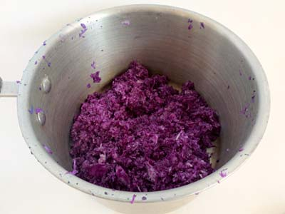 Stainless steel pot filled with grated red cabbage