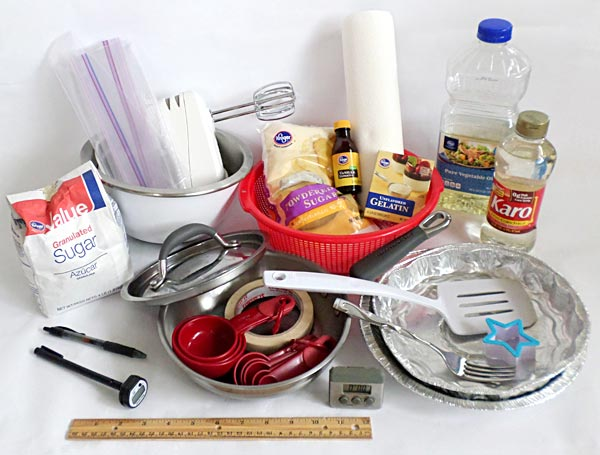Photograph of the ingredients needed to make homemade marshmallows as a science activity.