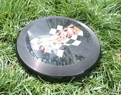 Frisbee lies on grass