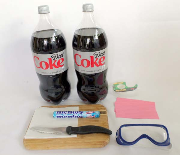 Materials needed to erupt diet coke using mentos.