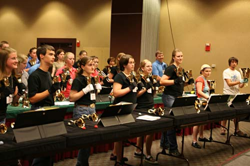 Handbell players practicing