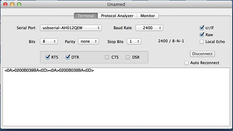 Viewing RFID serial data using Serial Tools in OS X