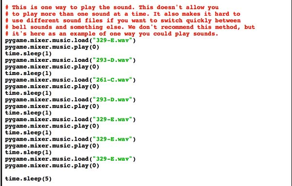 A clunky way of playing sounds using pygame. It's shown here because many programmers new to Python will do it this way. For this application there's definitely a more efficient way