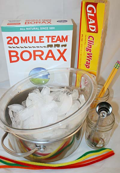Materials needed to grow borax crystals for a science activity.