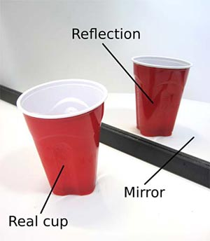 A red cup being reflected in a mirror
