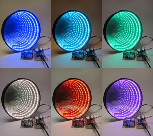 Rings of light in six different colors seem to repeat forever in a circular infinity mirror
