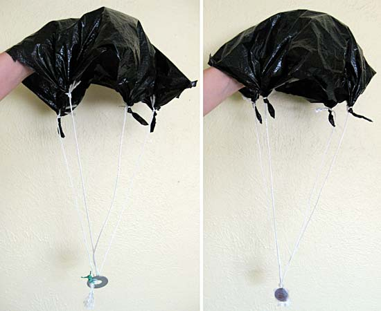 Two different home-made parachutes.