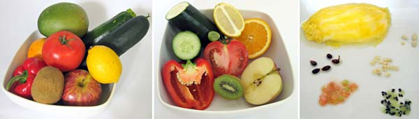 Photographs of fruit whole, cut open, and isolated seeds.