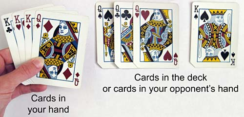 Photograph of cards in a hand and cards not in the hand.