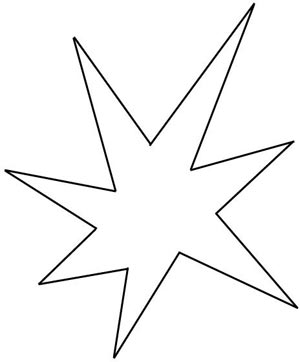 An irregular star-shape with seven points