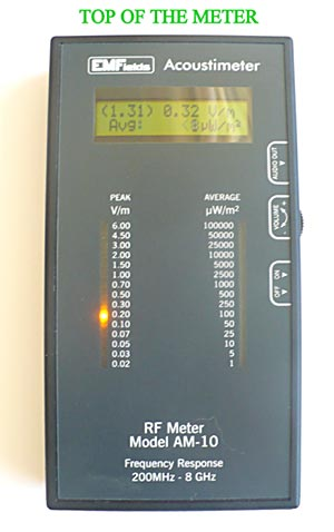Front view of an acoustimeter