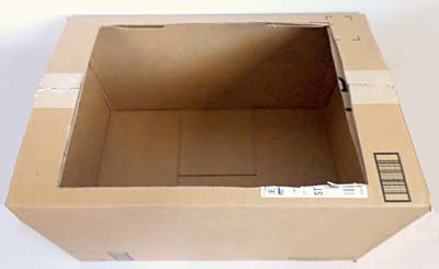 Large box with part of the top cut off.