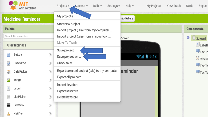 The <i>'Project'</i> drop down menu allows to save a project, so you can come back to it at a later time.