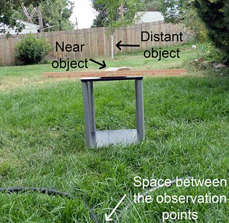 A table with a rock and yardstick on it sits in front of two hula hoops and a small tree is visible in the background