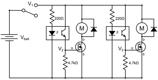 Circuit diagram for a line following robot