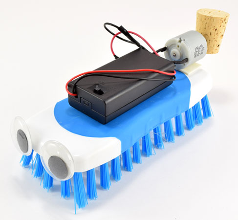 Photo of an assembled brush bot