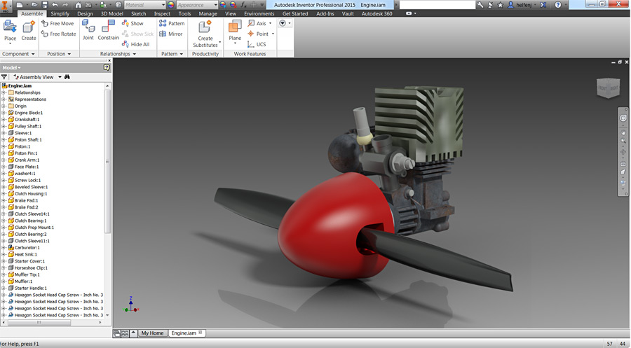 Screenshot of an engine and propeller rendered in a program called Autodesk Inventor