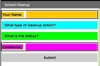 Screenshot of a cleanup project form made in the MIT app inventor at appinventor.mit.edu