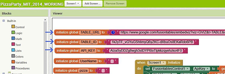 Screenshot of coding blocks in the MIT app inventor at appinventor.mit.edu