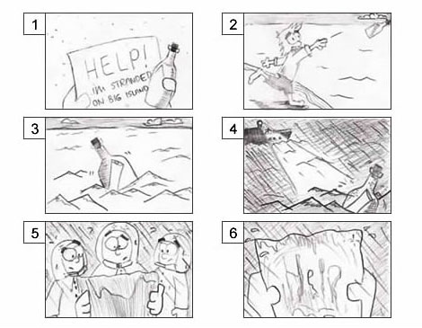 A storyboard shows a man on an island sending out a message in a bottle for help