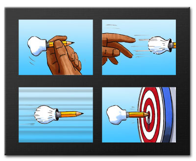 A storyboard shows a pencil with a chefs hat at one end being thrown at a dart board