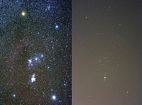 Image of the constellation Orion visible against a dark sky next to an image of the constellation blurred by city lights