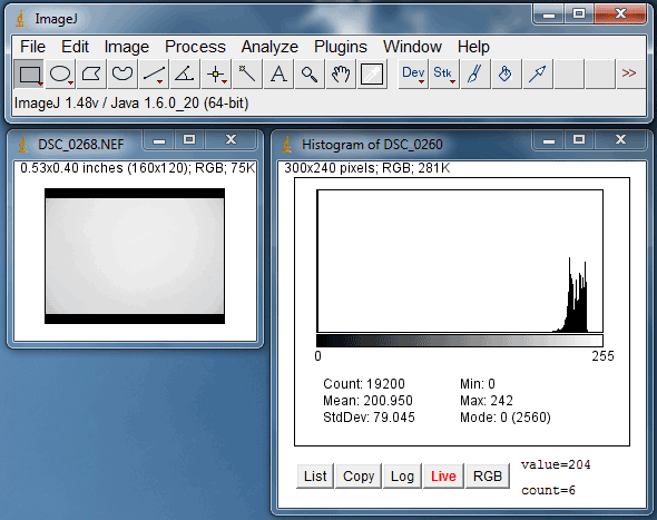 Screenshot of a histogram measuring the grey value of pixels in an image in the ImageJ program