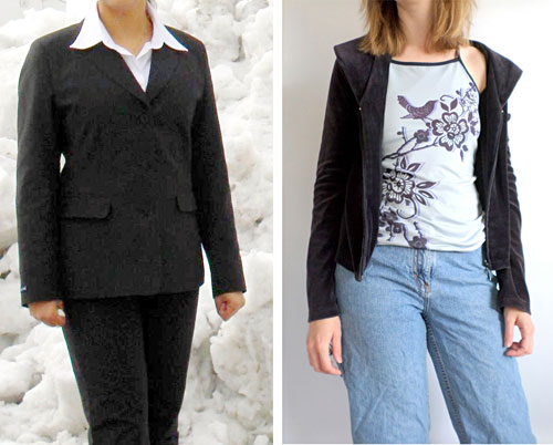 Photo of a woman wearing a formal blazer and pants next to a woman wearing an informal jacket with jeans
