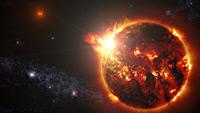 Stellar flares from a red dwarf star.