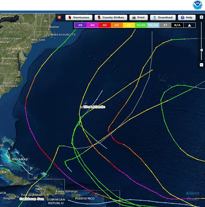 screenshot of NOAA hurricane tracking tool